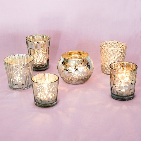 Best of Vintage Mercury Glass Candle Holders (Silver, Set of 6) - Mercury Glass Votive Holders