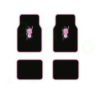 A Set of 4 Universal Fit Plush Carpet Floor Mats For Cars   Trucks Hawaii Aloha Pink by LavoHome