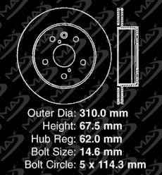 Fits: 2006 06 2007 07 2008 08 2009 09 2010 10 Lexus IS350 KT026142 OE Series Rotors + Ceramic Pads Max Brakes Rear Premium Brake Kit