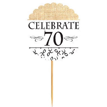 Floral Celebrate 70 Rustic Burlap Birthday Cupcake Decoration Topper Food - 70 Birthday Decoration Ideas