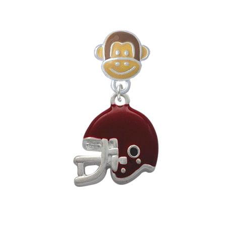 Small Maroon Football Helmet - Monkey Face Charm Bead