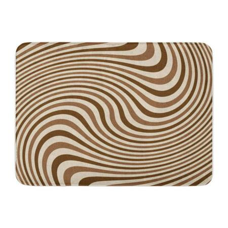 Dot Swirl Bath Rug - LADDKE Brown Cream Swirling Stripes for Swirl Abstract Beam Circular Doormat Floor Rug Bath Mat 23.6x15.7 inch