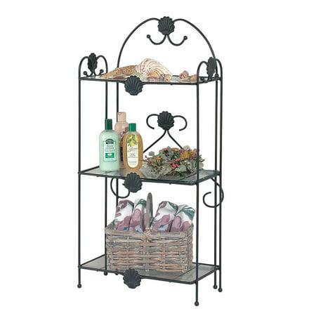 Vintage Wrought Iron Etagere Three Tier Glass Shelf  | Renovator's Supply