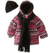 Pink Platinum Little Girls' Argyle Printed Puffer Jacket Scarf Hat Set