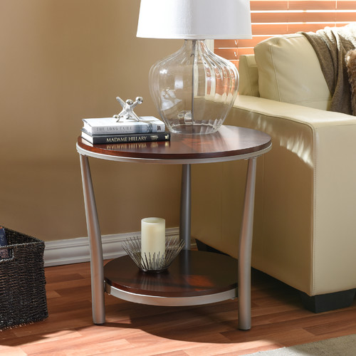 Halo Wood and Metal Contemporary Coffee Table-Regular