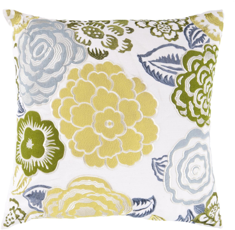 "22"" Botanical Bliss White and Naples Yellow Decorative Throw Pillow Down Filler"