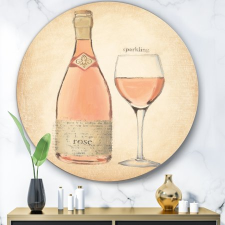 Rose Sparkling Wine - DESIGN ART Designart 'Glam Sparkling Rose Wine' Glam Metal Circle Wall Art