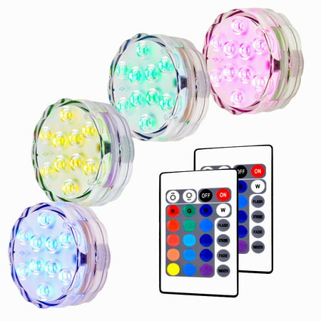 Holiday Park Halloween Party (4x 10 LED Submersible Lights RGB Multi-color Water-resistant IP67 With Remote Control Floral Decoration for Aquarium Pond Vase Base Party Wedding Halloween Christmas Holiday)