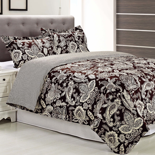 Superior Overbrook Reversible 300 Thread Count Cotton Reactive Print Duvet Cover Set