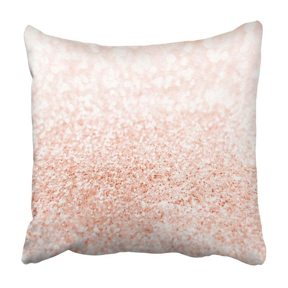 USART Pink Sparkle Rose Gold Bright Blur Champagne Winter Abstract Beautiful Bokeh Pillowcase Cushion Cover 16x16 inch