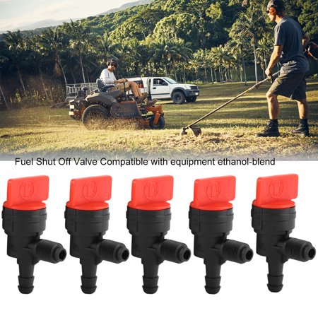 YLSHRF 5PCS 90° Gas Fuel Shut Cut Off Valves 1/4 Inline for ATV Go Kart Mower Bike, 90° Gas Fuel Shut Cut Off