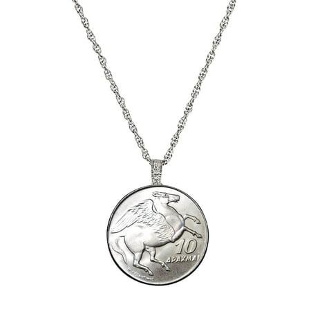 American Coin Treasures Greek Pegasus Coin Pendant Necklace