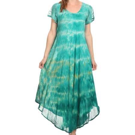 Long Sleeve Caftan - Sakkas Kaylaye Long Tie Dye Ombre Embroidered Cap Sleeve Caftan Dress / Cover Up - Aqua - OS