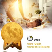 Humidifier - Aromatherapy Diffuser, LED Desk Moon Lamp with Cool Mist Humidifier Function, Adjustable Brightness and Mist Mode