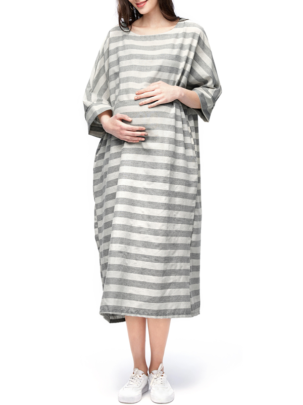 Maternity Striped Half Sleeve Cotton Casual Loose Long Pregnant Dresses