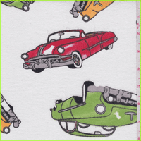 White/Lime Multi Classic Car Print Flannel, Fabric By the Yard