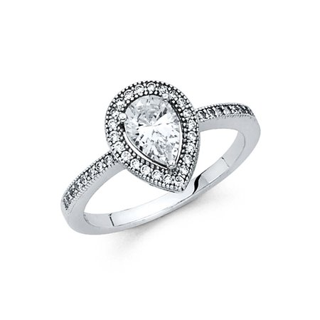 White Gold Pear Shape Ring (14K Solid White Gold Pear Shape Halo Cubic Zirconia Wedding Engagement Ring, Size 5)