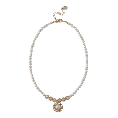 Roman Women's Simulated Pearl Clock Pendant Necklace, 17