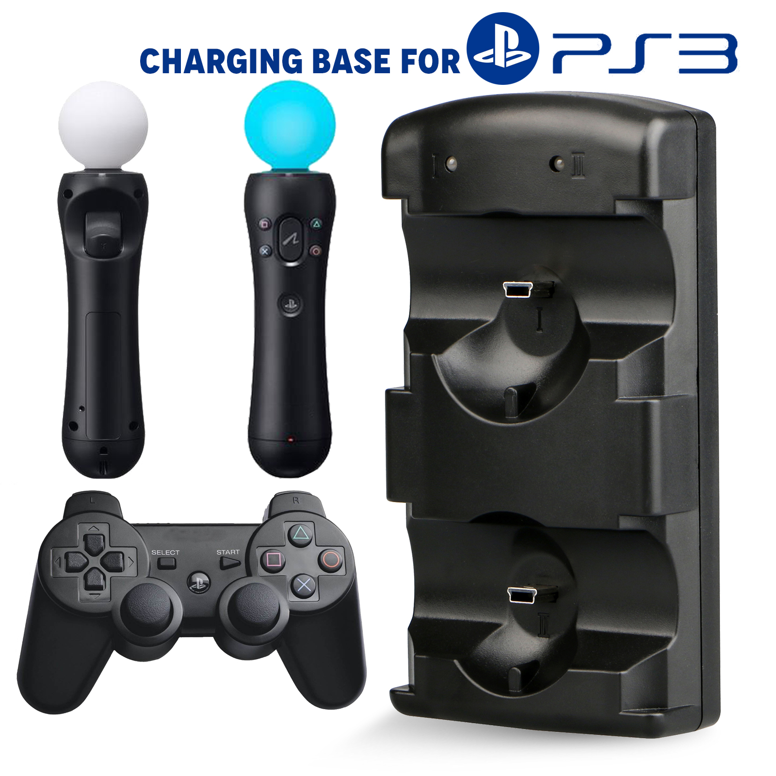 TSV Dual USB Charging Dock Station Charger Stand For Sony Playstation3 PS3 PS Move Controller