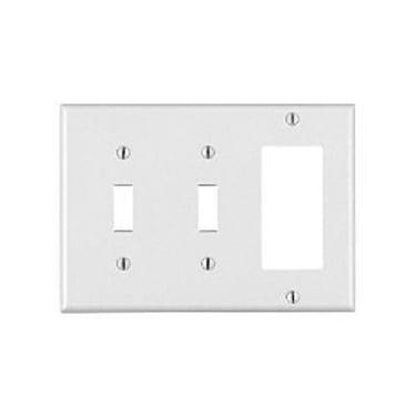 leviton 80421-w 2-toggle 1-decora/gfci device combination wallplate