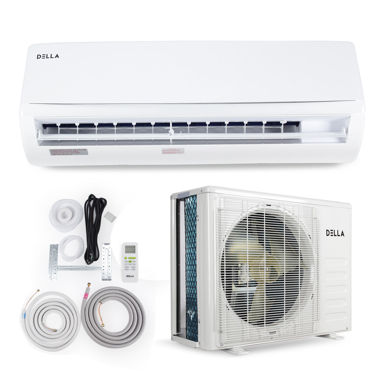 DELLA 9,000 BTU 230V Mini-Split AHRI Inverter Air Conditioner Heat Pump w/ 16' Installation Kit, 25 SEER