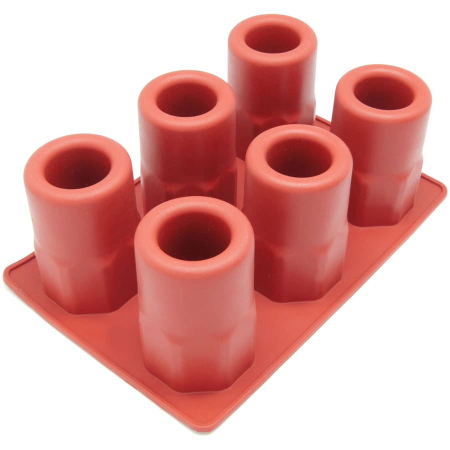 Freshware 6-Cavity Beveled Ice Shot Glass Silicone Mold, FI-108RD