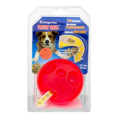 "Omega Paw Treat Ball Dog Toy, 3.5"", Orange"