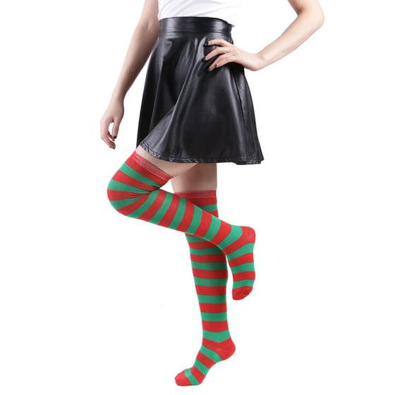 176f9a8055a HDE - Women s Extra Long Striped Socks Over Knee High Opaque Stockings  (Rainbow) - Walmart.com