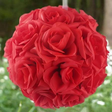 Jeobest 1PC Kissing Ball Flower - Wedding Ball - 6 Inch Flower Kissing Balls Wedding Home Decor Foam Rose Flowers Ball Decoration MZ (Red) Red Trumpet Flower