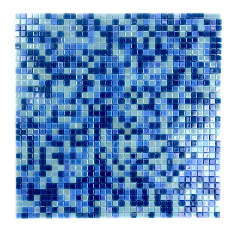 "Abolos- Galaxy Straight 0.31"" x 0.31"" Glass Mosaic Tile in Glazed Blue (10sqft /10sht Box)"