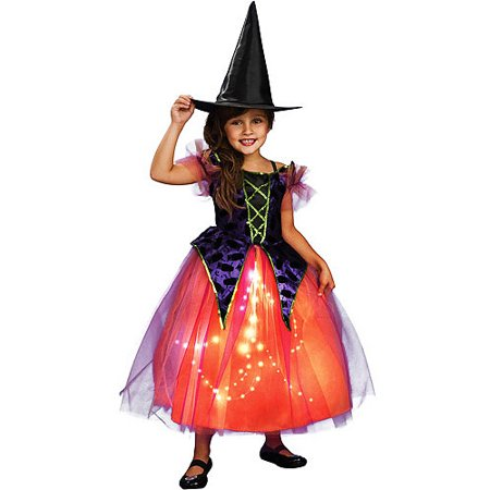 Purple/Orange Witch Girls Dress Halloween Costume - Walmart.com