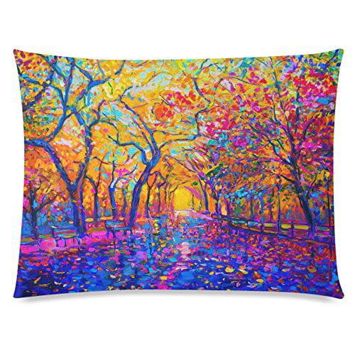 GCKG Oil Painting Autumn Tree Flower 20x30 inches,Vintage Colorful Soft Pillow Cover - image 4 de 4
