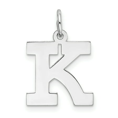 925 Sterling Silver Medium Block Initial Monogram Name Letter K Pendant Charm Necklace Gifts For Women For Her