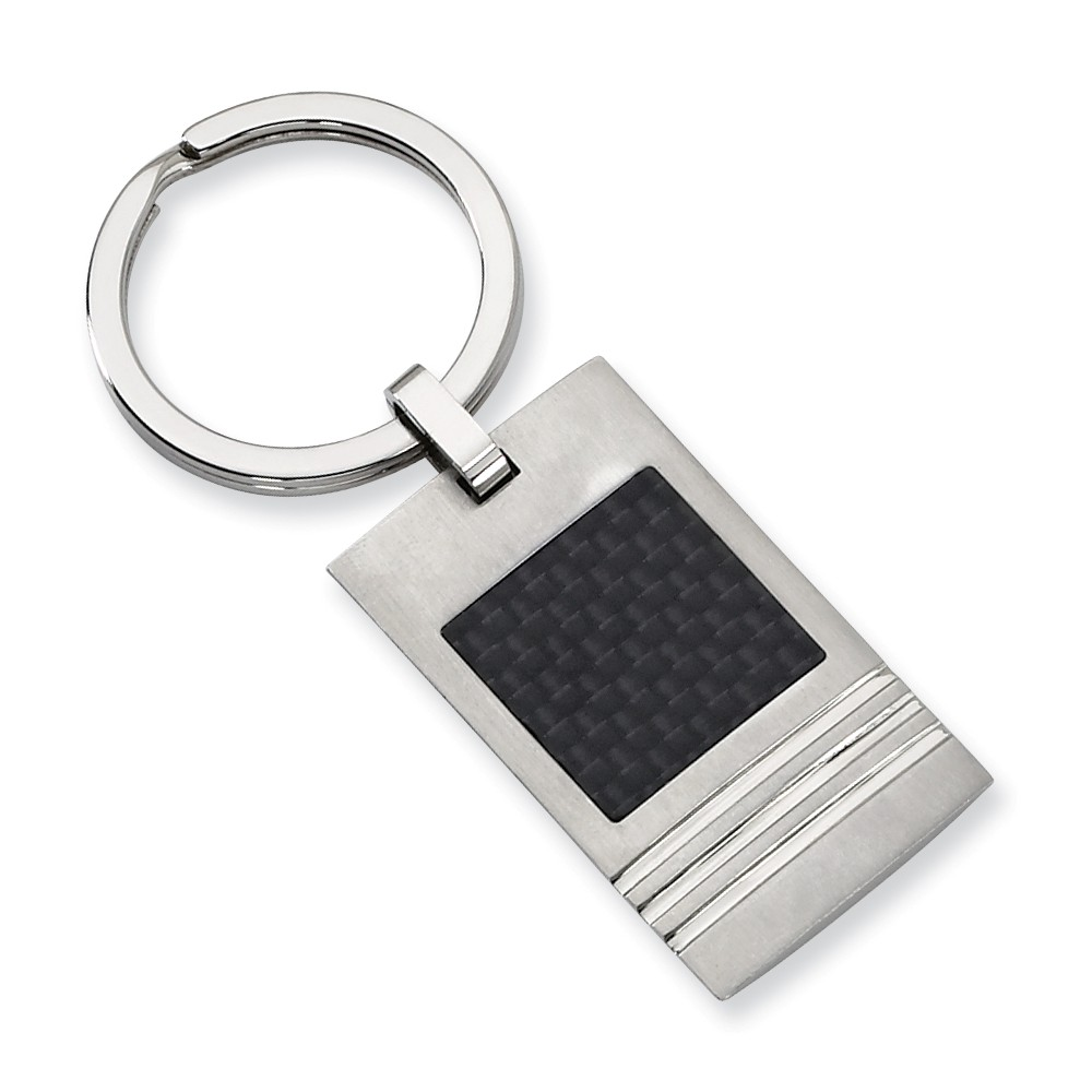 Stainless Steel Brushed Black Carbon Fiber Inlay Key Ring by IceCarats