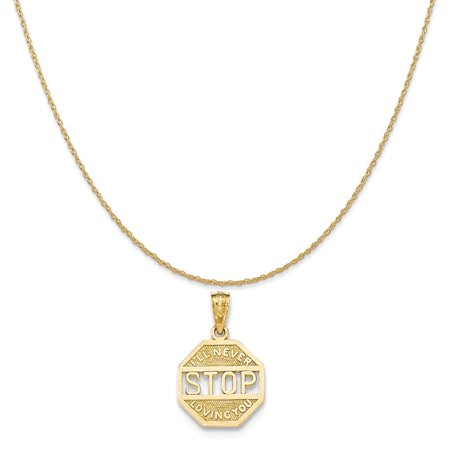 14k Yellow Gold Polished Never Stop Loving Pendant on 14K Yellow Gold Rope Chain Necklace, 18""