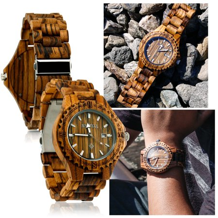Fashion Zebrawood Bewell Wood Wrist Bamboowatch Night Vision Quartz Mens Wooden Wristwatch