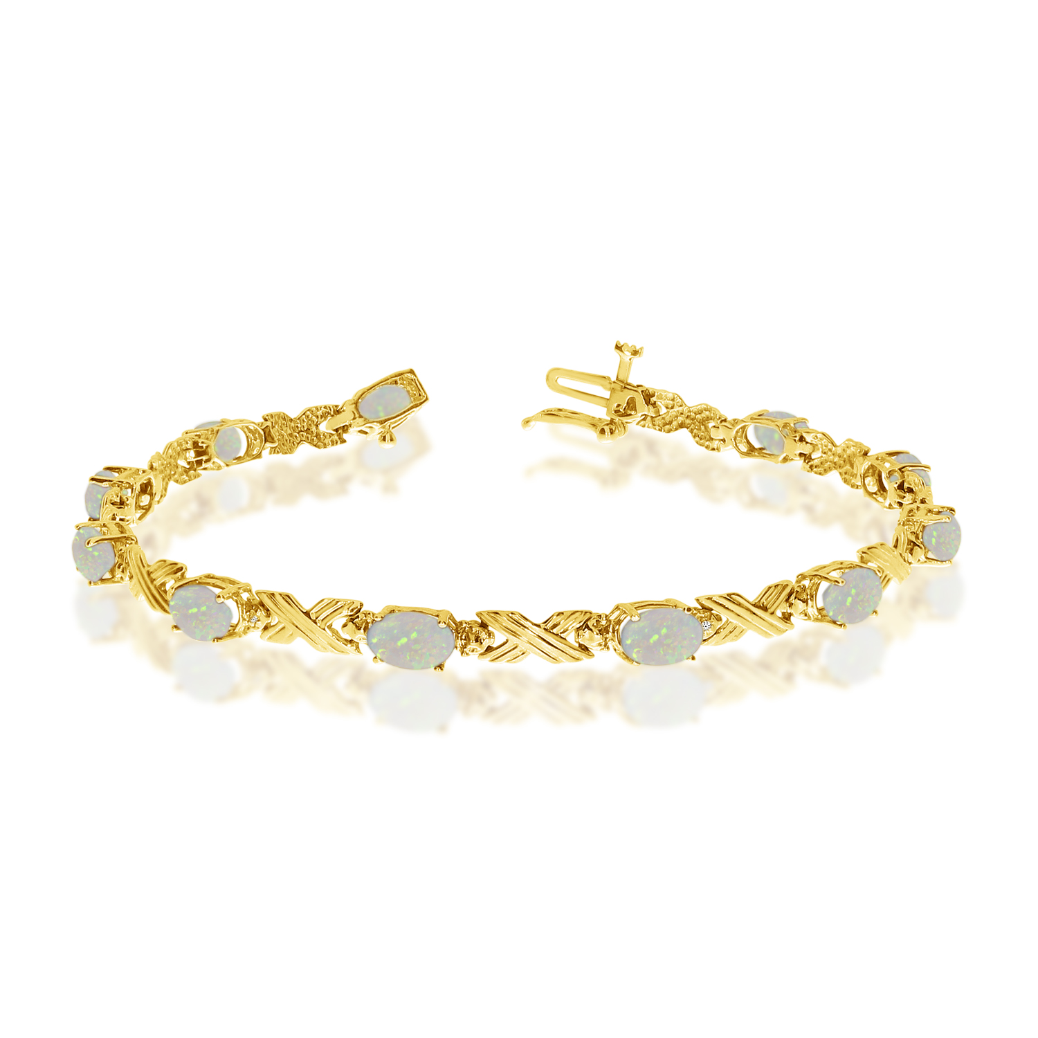 14K Yellow Gold Oval Opal and Diamond Bracelet by LCD