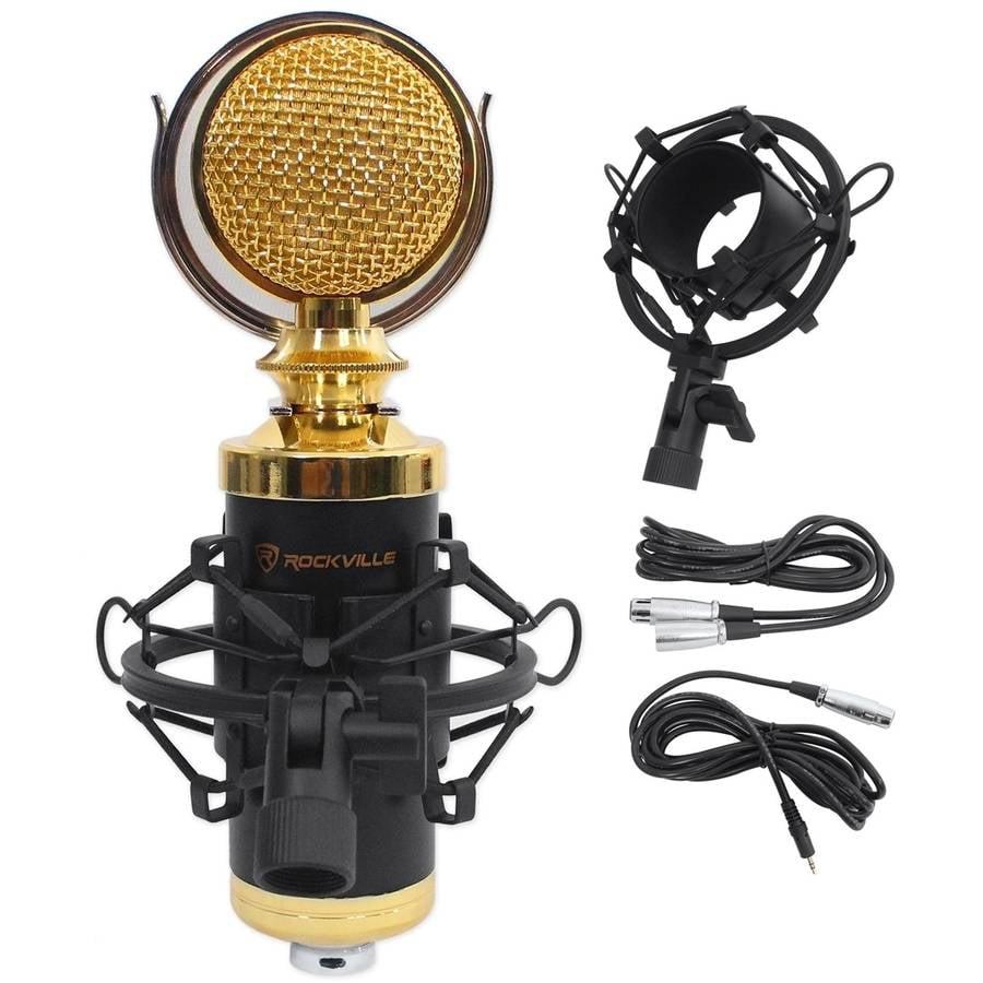 Rockville RCM02 Pro Studio Recording Condenser Microphone Mic and Metal Shock Mount