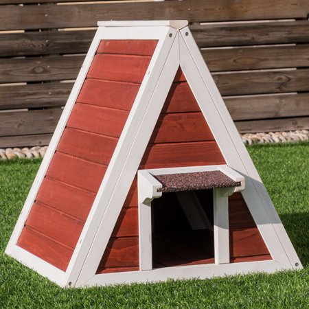 Weatherproof Wooden Cat House Furniture Shelter Condo With Eave