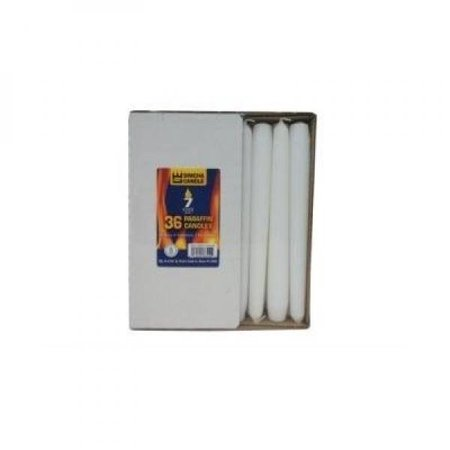 White Taper Candles 8 Inche Burns 7 Hours - 1 Box of 36](Taper Candle)
