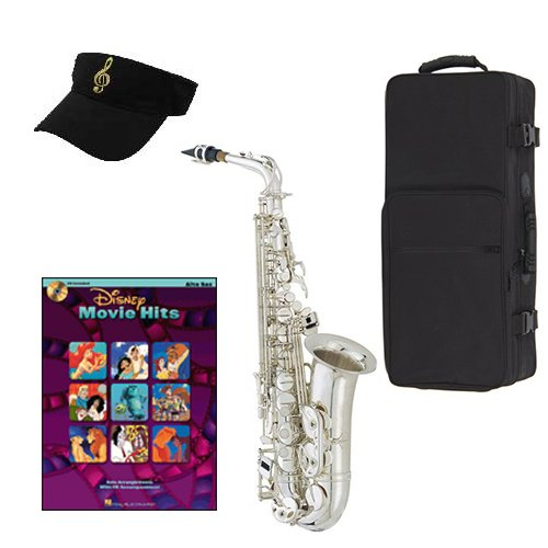 Disney Movie Hits Silver Alto Saxophone Pack Includes Alto Sax w Case & Accessories,... by Band Directors Choice