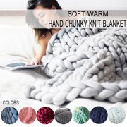 "47""x39.4""/47""x59""/39.4""x31.5"" Warm Hand Chunky Knit Blanket Thick Yarn Bulky Bed Spread Throw Soft & Multi Colors"