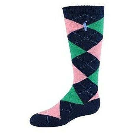 Ralph Lauren Girls Argyle Knee-High Socks Size 9-11