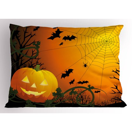Spider Web Pillow Sham Halloween Themed Composition with Pumpkin Leaves Trees Web and Bats, Decorative Standard King Size Printed Pillowcase, 36 X 20 Inches, Orange Dark Green Black, by Ambesonne - Pumpkin With Leaves