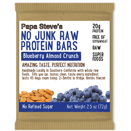 Papa Steve's No Junk Raw Protein Bar, Blueberry Almond Crunch, 20g Protein, 10 Ct