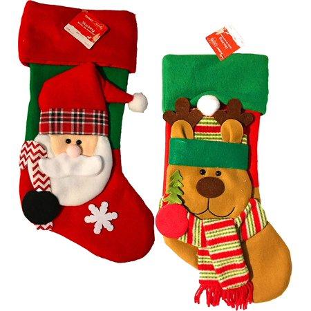 Santa Christmas Stocking - Christmas 3D Fleece Stocking 18