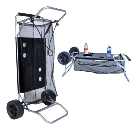 Folding Table Cart (Beach Cart with Folding Table / Drink Holders - Grey Frame / Black Table)