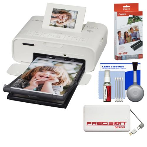 Canon SELPHY CP1200 Wi-Fi Wireless Compact Photo Printer (White) with Ink + Paper + Portable Power Pack + Kit