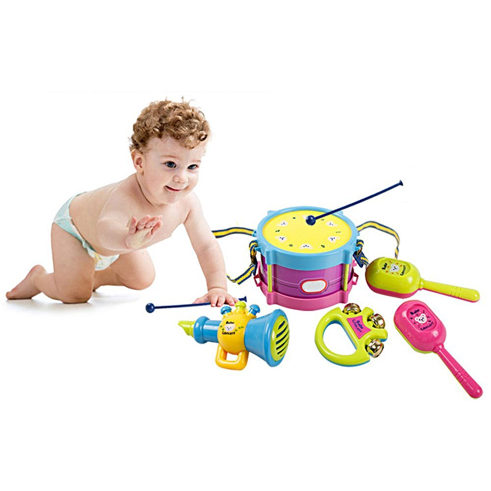 Baby Concert Baby & Toddler Learning Toys 5pcs Roll Drum Musical Instruments Band Kit Toy Set 1 drum with drum sticks 1 tambourine 1 saxophone whistle 2 x maracas