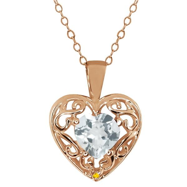 0.68 Ct Heart Shape Aquamarine Simulated Citrine Gold Plated 925 Silver Pendant